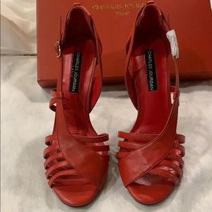 NEW Charles Jordan  High heels. 100% red leather.